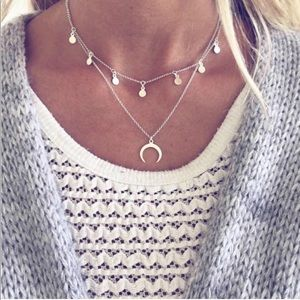 Silver Horn brandy Melville choker necklace